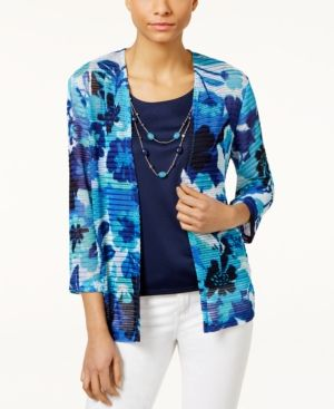Alfred Dunner Petite Layered-Look Floral Top with Necklace - Blue PS