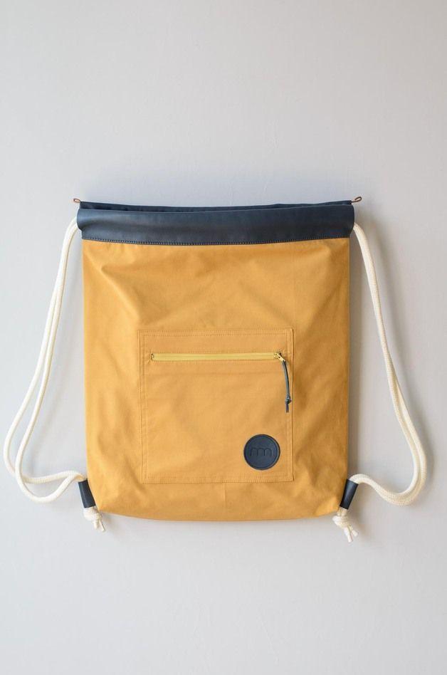 Turnbeutel - Turnbeutel Eisbach Uni Senfgelb/Graublau - ein Designerstück von remembermebags bei DaWanda