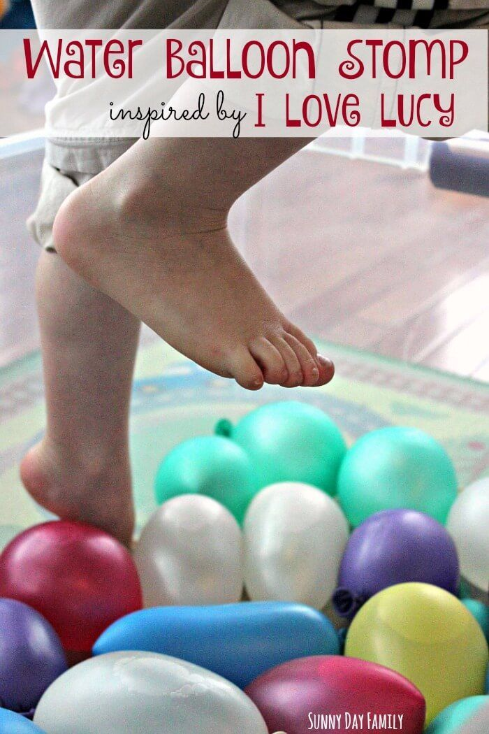 Have some fun and stomp water balloons with this easy activity for kids, inspired by the classic I Love Lucy grape stomping episode! Kids love stomping water balloons just like Lucy.