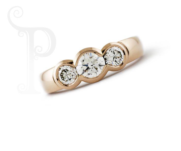 Handmade 18ct Rose Gold Half Bezel Trilogy Ring Set with Round Brilliant Cut Diamonds