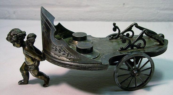 VICTORIAN~Antique~CHERUB PULLING CART~Silverplate SHAKER & NAPKIN HOLDER Trolley #SimpsonHallMillerCo