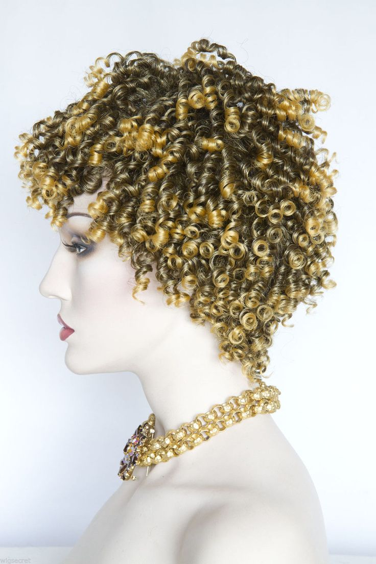 Short Curly Wig Features Tight Spiral Curls Medium Length Blonde Brunette Wigs…
