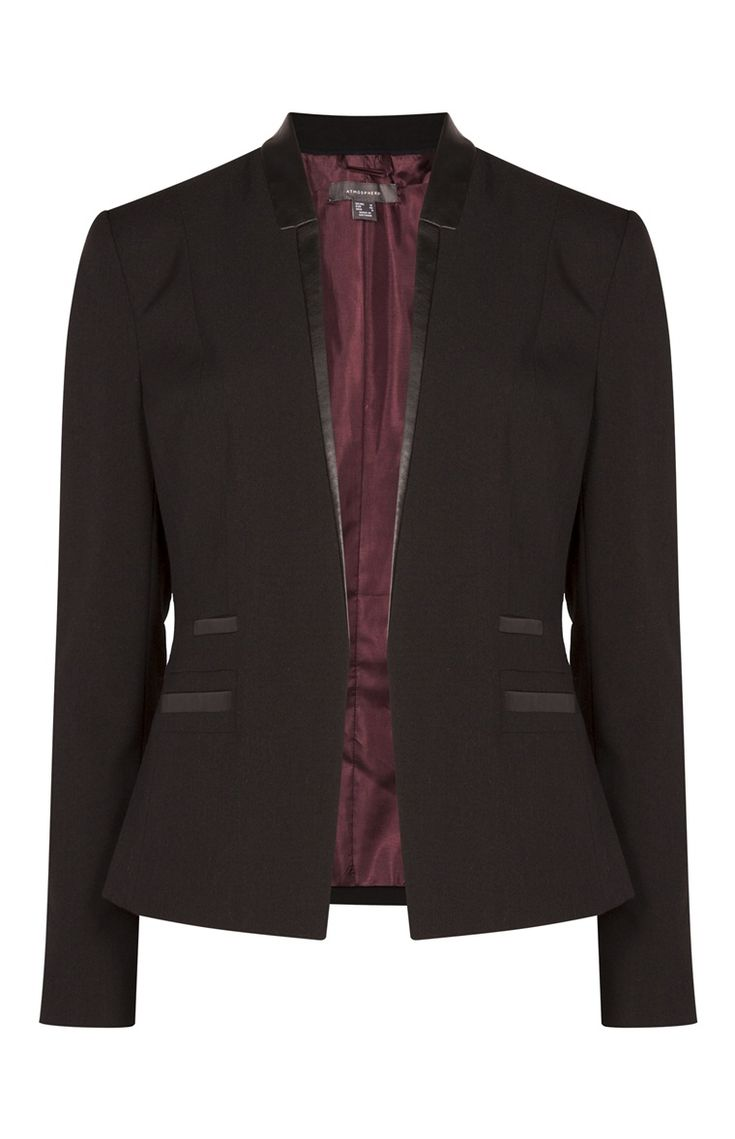 Black PU Trim Blazer