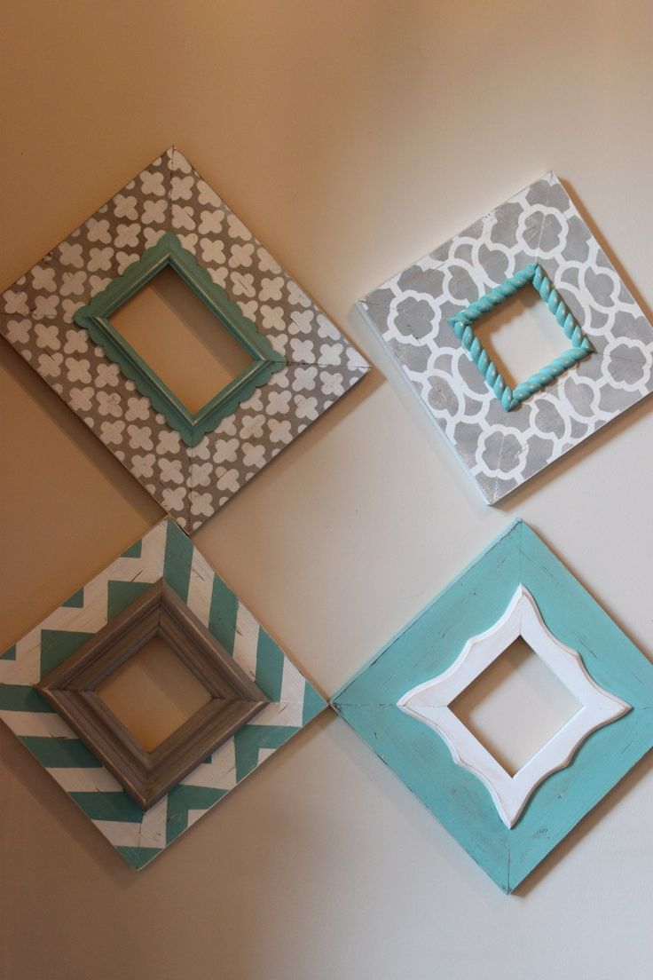 Distressed Frames: Set of Modern Funky Pattern In Grey and Turquoise Table Top or Wall Hanging. $210.00, via Etsy.