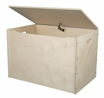 American Made Baltic Birch Plywood Big Toy Box with Carry Handles - Unfinished, 056-UNF by Little Colorado   BizChair.com
