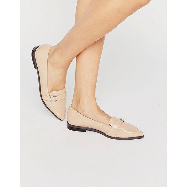Miss KG Neeve Buckle Strap Point Flat Shoes ($74) ❤ liked on Polyvore featuring shoes, flats, beige, pointed toe flats, flat pointed-toe shoes, slip on shoes, beige patent flats and flat pumps