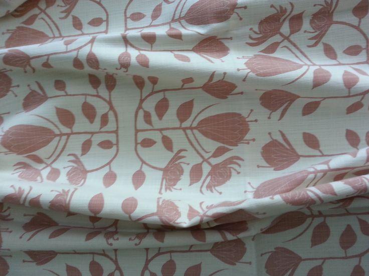 Maradadhi Textiles Protea.  Vintage Pink onto white cotton