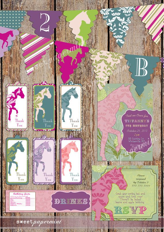 Horse Equestrian Vintage Birthday Party Pack Set by SweetPapermint, $26.00