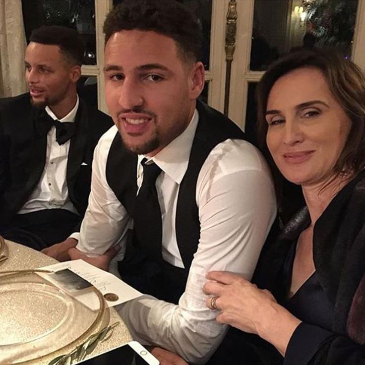 Klay Thompson and his mother attending a wedding