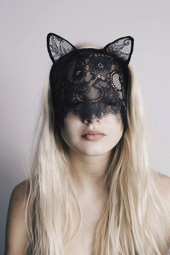 SOTTO la mascherina del gatto mio velo nero di pizzo con velo e orecchie