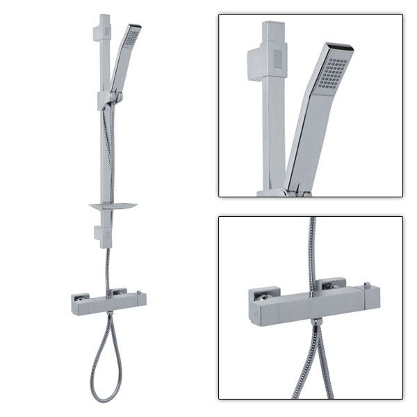The Square Shower Valve With Quad Slide Rail Kit & Handset, priced at £120.95. Is a modern showering solution at an unbelievably low price. Perfect with our range of square bar and concealed shower valves it also boasts a soap dish, auto lock shower head holder and adjustable fixing brackets. Order now at - http://www.taps.co.uk/square-shower-valve-with-quad-slide-rail-kit-handset.html