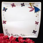 BIRTHDAY PLATE, PERSONALISED - FAIRY WITH BUTTERFLIES