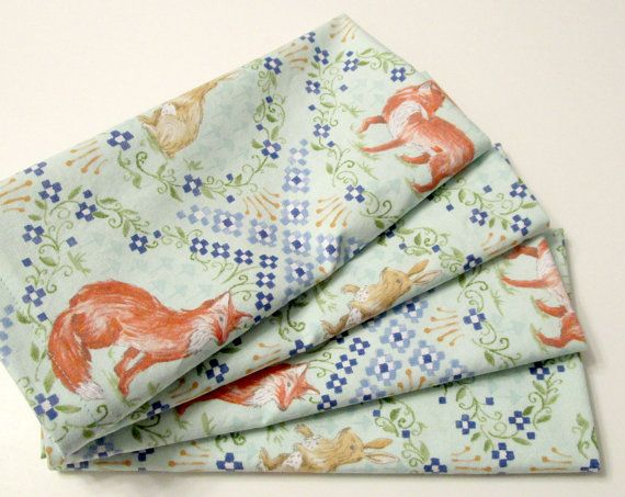 Cloth Napkins  Sets of 4  Fox and Hare Rabbit Aqua by ClearSkyHome