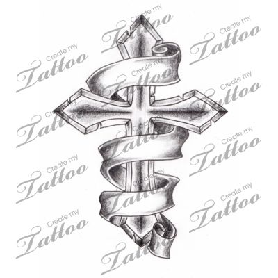 Marketplace Tattoo Shaded Cross with 3 Banners #2944 | CreateMyTattoo.com