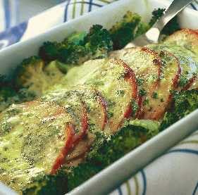 4 port Tid: ca 30 min  500 g kassler i skivor  2 huvuden broccoli  Gratängsås: 2 msk smör 2 1/2 msk vetemjöl 3 dl mjölk salt, peppar 140 g ädelost 1–2 msk riven pepparrot (kan...