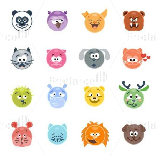 Smilies in the form of animals. Emotions and moods. Vector illustration. Buy, sell ready-made graphics.