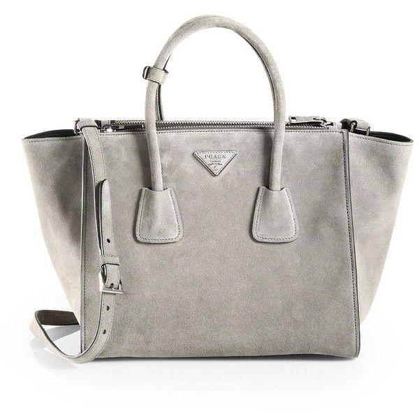 Prada Suede Twin Pocket Tote (7 475 PLN) found on Polyvore featuring bags, handbags, tote bags, prada purses, zip tote bag, suede tote, zip tote and prada tote