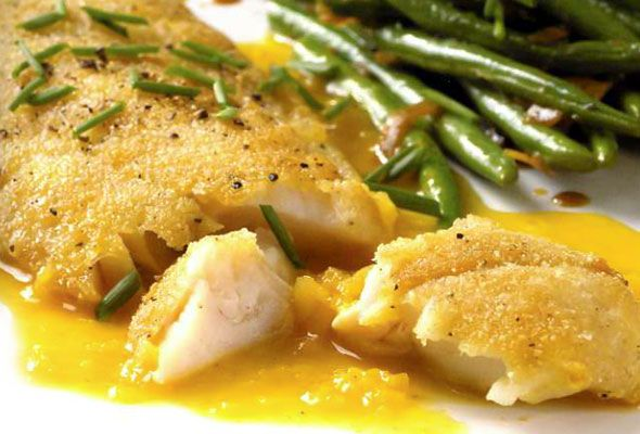 Crispy rock cod with citrus sauce recipe agaves rice for Recipe for cod fish