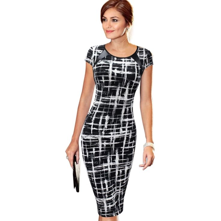 VfEmage Women's 2016 Spring Summer Printed Synthetic Leather Wear to Work Office Business Casual Pencil Dress vestidos 1755