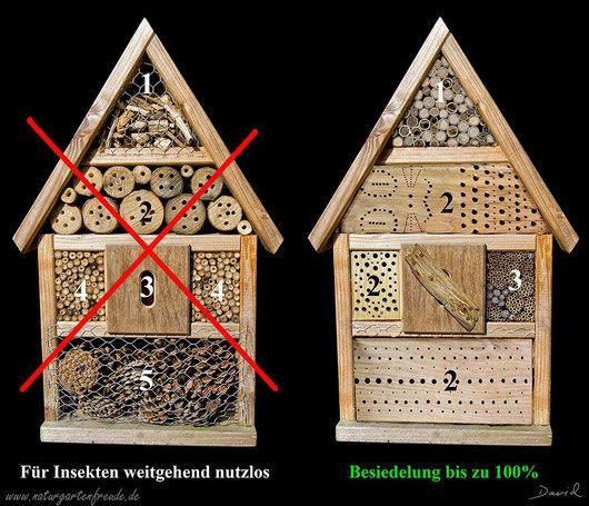 Der klassische Grundtyp einer Nisthilfe (Insektenhotel) links wird in 1001 Variante verkauft. Der praktische Nutzen geht je nach Verarbeitung von Null bis gering. Links seht ihr einen sinnvollen Umbau. Die dort eingesetzten, sauber verarbeiteten Materialien werden nahezu zu 100% besetzt  http://www.naturgartenfreude.de/wildbienen/nisthilfen/baumarktgrauen/ (insect hotel, insect nesting aid Insektennisthilfe bug house bee) Neudorff