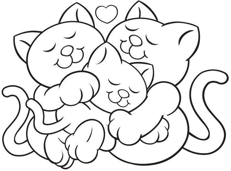 Kočičí rodinka - omalovánka