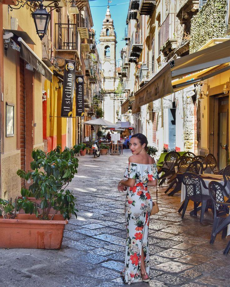 Sicily holidays - Palermo @alexandrina2910 long flower dress off shoulder sexy bodycon tight dress body shape holiday dress dinner evening