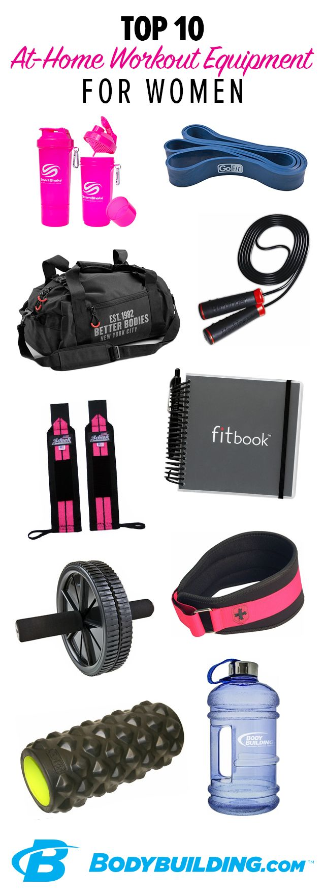 TOP 10 AT-HOME WORKOUT EQUIPMENT FOR WOMEN! Who says you need a gym to get a good workout? These favorite pieces of equipment will help you work in a workout anywhere. Get everything you need to break a sweat in your living room, hotel room, or wherever you get your training in.