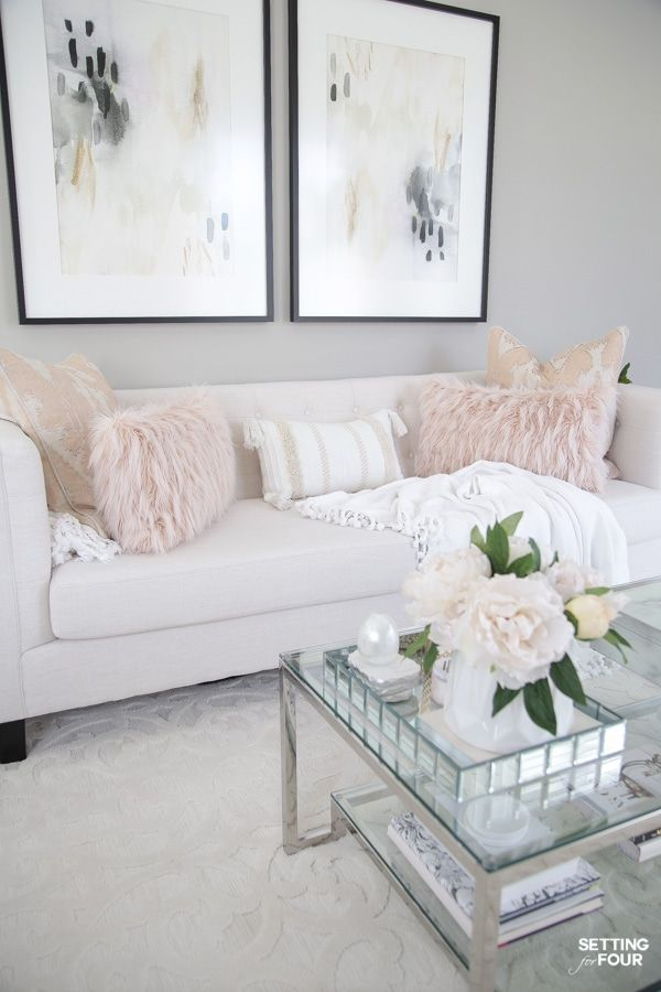 Elegant Spring Living Room Decorating Ideas In 2020 White Couch Living Room Spring Living Room Decor White Living Room Decor #pink #grey #and #white #living #room #ideas