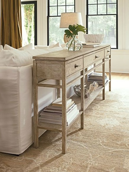 beachy behind the couch or even entry way, very useful and with baskets below, good storage