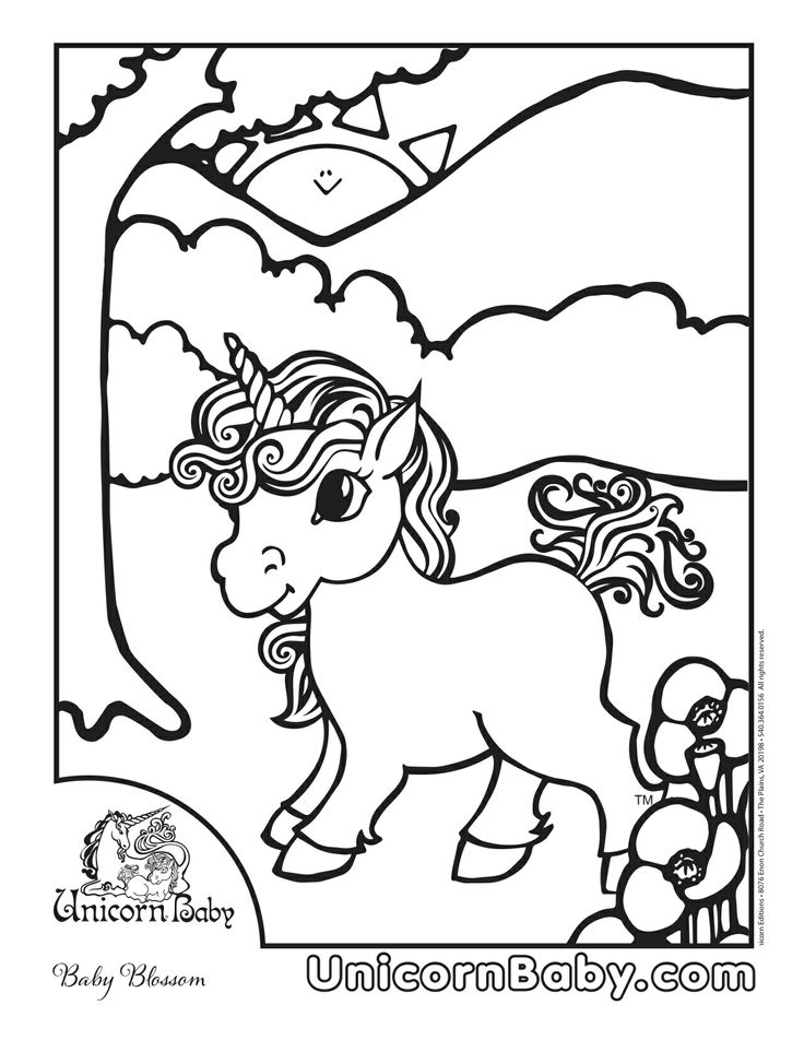 Blossom Loves To Watch The Sun Rise Over Hill And Look Spring Flowers Are Blooming Find This Pin More On Unicorn Baby Coloring Pages