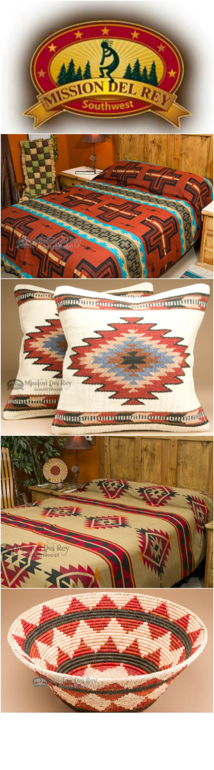 Southwest Bedspread Bedding -Cochiti Rust QUEEN
