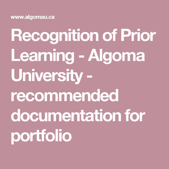 Recognition of Prior Learning - Algoma University - recommended documentation for portfolio