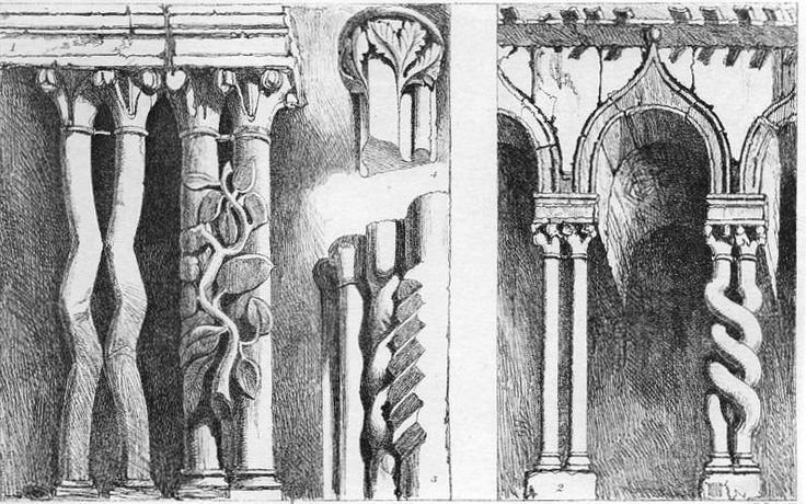 John Ruskin, The Seven Lamps of Architecture, 1855   Plate XIII, Portions of an Arcade on the South Side of the Cathedral of Ferrara, p. 155