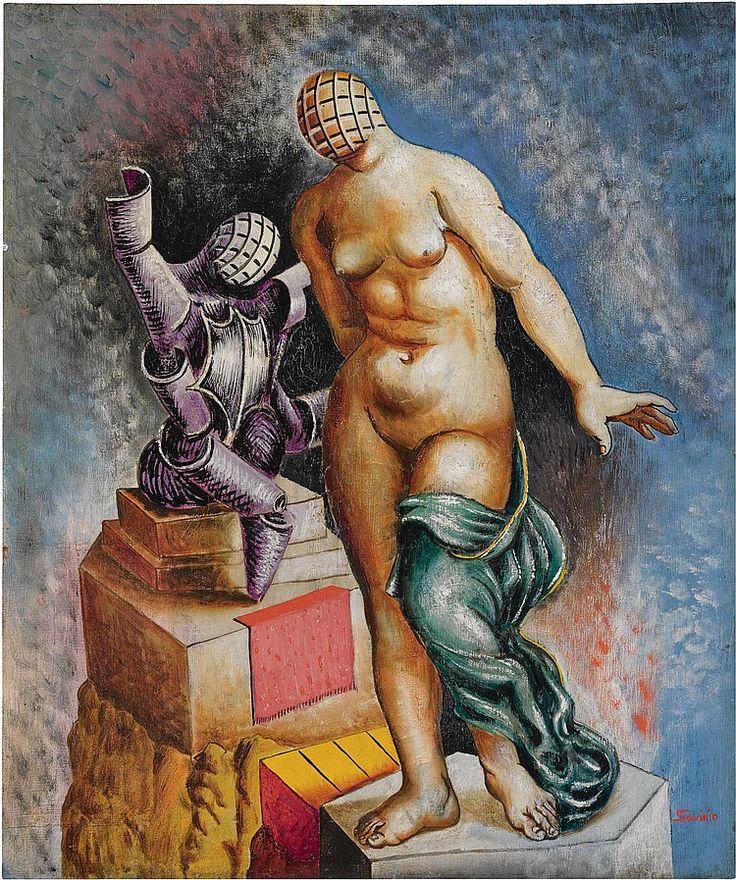 Alberto Savinio (1891-1952), LA MÈRE ET L'ENFANT, 1928, olio su tela, cm 55x46