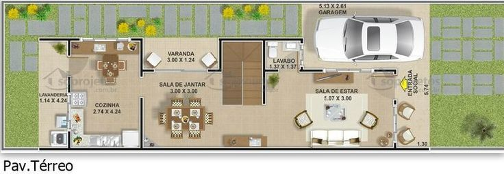 Planta de casa geminada 3 quartos terreo