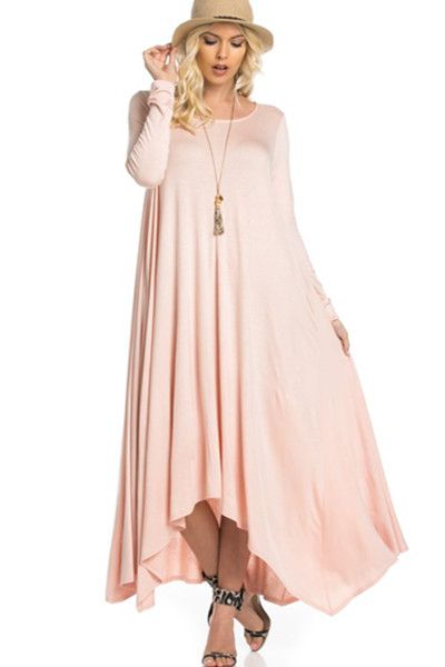- Long Sleeve Drapey Maxi Dress - 95%RAYON 5%SPANDEX - Made in the USA - Dress Runs True to Size