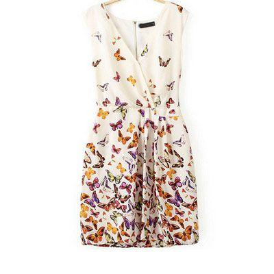 39,90EUR Kleid mit Schmetterlingen weiss