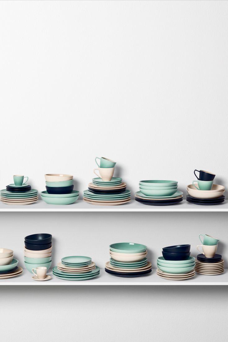 Le Creuset New Minimalist Dinnerware Collection In Sage Meringue