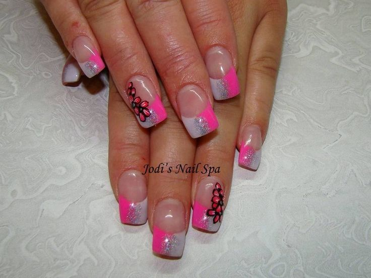 Acrylic in neon pink with flowers.