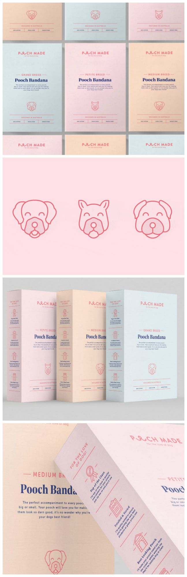 Retail Packaging for Online Pet Lifestyle Influencer Brand Design Agency:Made Somewhere Project Name:Pooch Made – Brand and Packaging Category:Pets and Animals