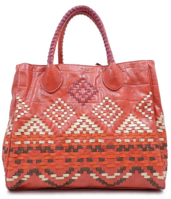 ikat pattern bag.