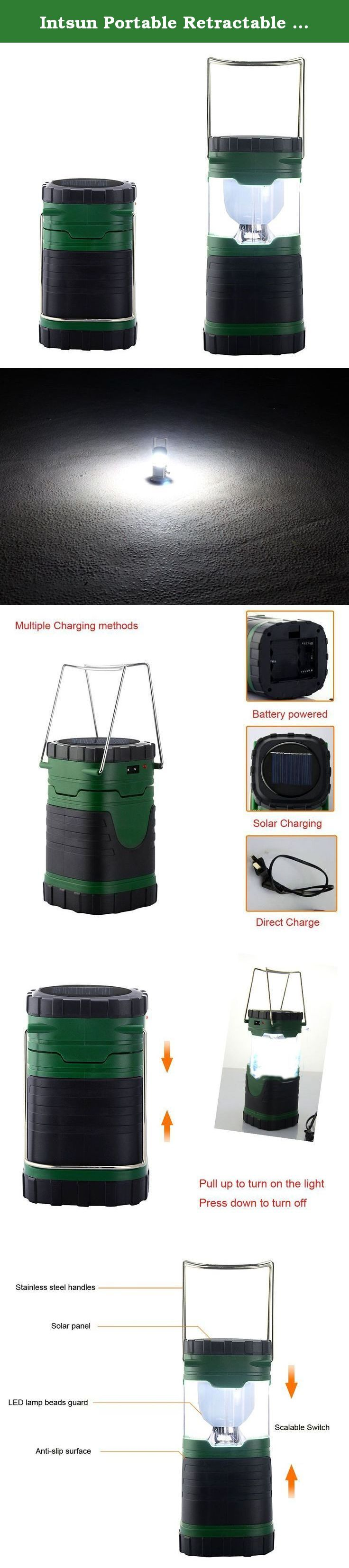 Intsun Portable Retractable Solar Scalable Tent Camping Lantern Lamp, 4V/12W USB Rechargeable 6 LED Folding Camping Outdoor Lighting, Emergency Lights for Hiking Fishing. Specifications: * Battery: 1000mAh Battery Bult-in * Charging time from AC adapter: 3-4 hours * Working time from AC adapter: 5-6 hours * Rechargeable: Yes * Charging Method: Solar Powered, AC Adapter or 3 x AA Battery(not included) * Super bright 6-LED 300 lumens * Dimensions:18.5CM * 8.5CM * Package Weight: 335g…