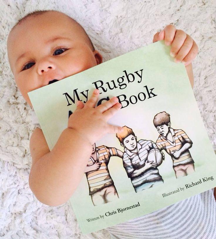 Beautiful baby boy practicing his hugging/tackling technique...#MyRugbyABCBook