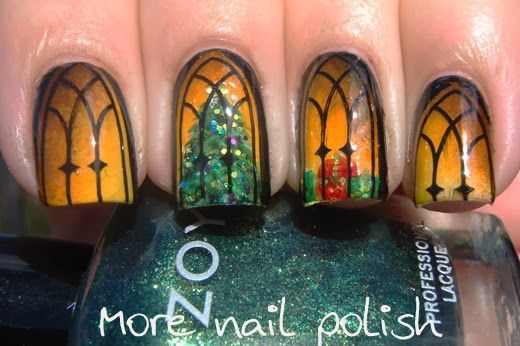 My absolute favorite holiday manicure I have seen this year! So pretty and an amazing idea!!