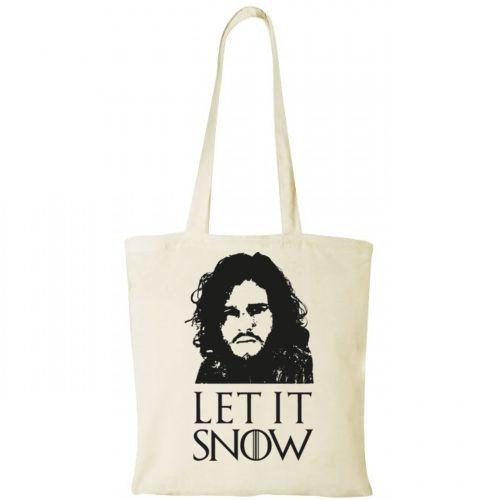 Sacosa de cumparaturi din bumbac 100%, cu imaginea lui Jon Snow din Game of Thrones si textul Let it Snow