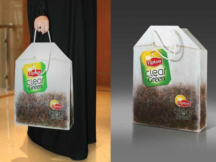 Сумка в виде чайного пакетика от компании Lipton.