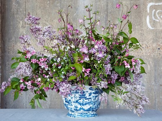 Stunning design by Shane Connolly for British Flowers Week featuring weigela, syringa persica, jasmine, aquilegia and forget-me-nots