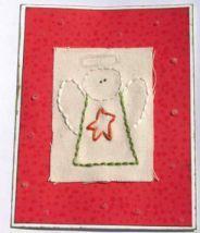 DIY Christmas Card: Stitched Angel handmade Christmas greeting card holiday Christmas DIY make your own paper stamp emboss