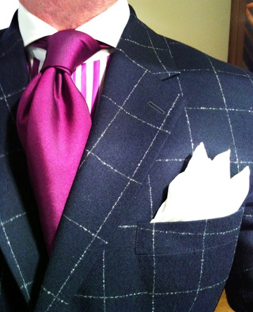 WIWT Blue Windowpane Check Suit By Richard James & Candy Stripe Shirt Purple Label By Ralph Lauren
