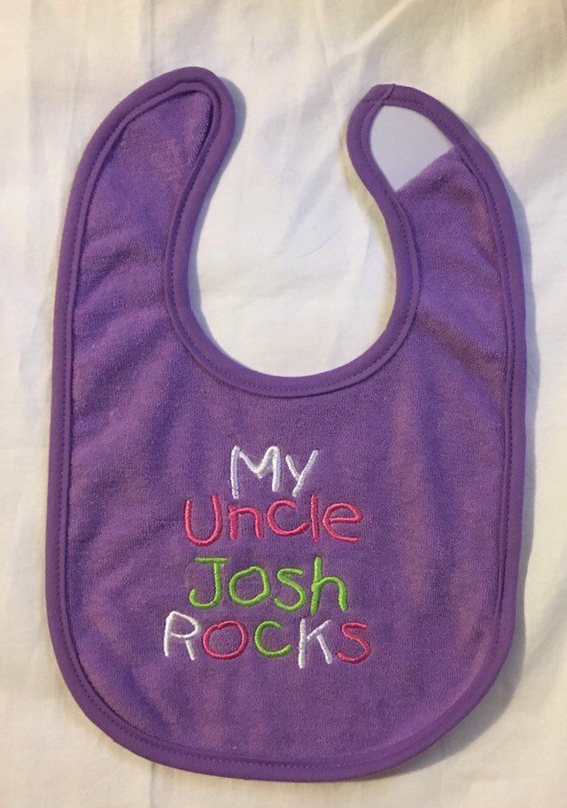 My Uncle (uncle's name) ROCKS custom embroidered bib | Aunts